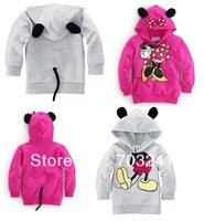 new Free Shipping,children hoodies 5pcs/set girls clothing 100% cotton cartoon clothes minnie sweaters grey red