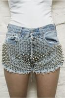 2013  Fashion new  design  handmade ! full rivet denim denim shorts whisker torn edge