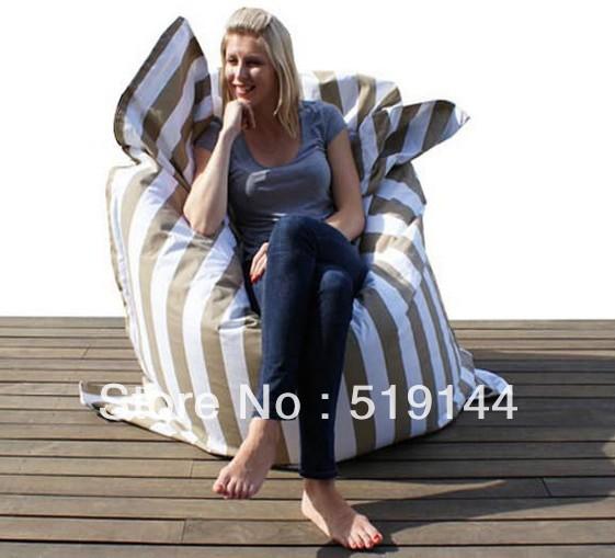 Grátis frete tiras de moda taupe pufe adultos grande almofada sentado saco de feijão cadeira relaxante em 140 x 180 cm(China (Mainland))