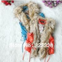 wholesale--4pcs/lot.2012 Fall New, high-grade girls fur vest, 2-color, free shipping.