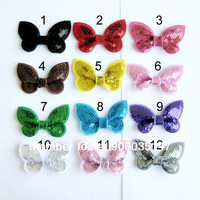 "free shipping 100pcs/lot  2"" sequin Bow Knot Applique  mix colors DIY accessiories kids' hair accessories"