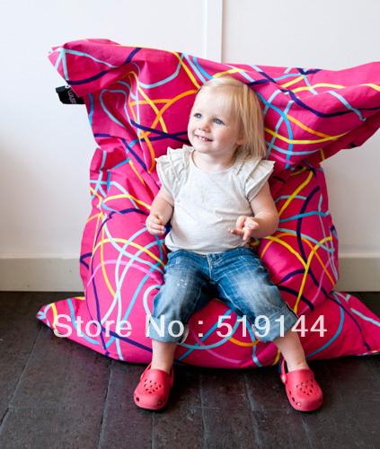 Grátis frete júnior saco de feijão cadeira sentado sol moda salão relaxar pufes reclinável - lineness rosa(China (Mainland))