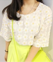 Small fresh 072 vintage daisy gauze paillette loose short-sleeve T-shirt