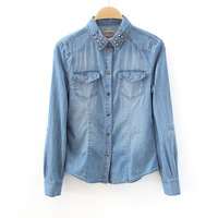 Fashion vintage 2012 long-sleeve slim rivet denim shirt basic shirt female