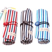 free shipping Korea stationery navy stripe canvas pencil case navy style roller shutter pencil case pen curtain