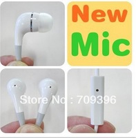 Earphone With Mic For Apple IPhone 5  / 4 4S 3GS IPod Stereo Handsfree In-Ear Headphone Microphone 50pcs/lot,free shipping