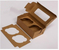 Free Shipping 60pcs/lot kraft paper material contain 2 Cupcakes Muffin Packing box cup cake Baking case