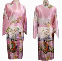 Free Shipping Pink Chinese Women's  Silk Rayon Robe Kimono Bath Gown Flowers S M L XL XXL XXXL WS-15
