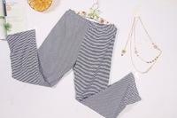 Free shipping Fall Fashion Modal loose big yards women tracksuit trousers striped pajama bottoms trade 100% real shooting