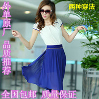 2013 women's summer color block slim gentlewomen skirt chiffon pleated one-piece dress