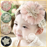 2013 big lace yarn flower child headband princess hair accessory baby hair accessory hair band