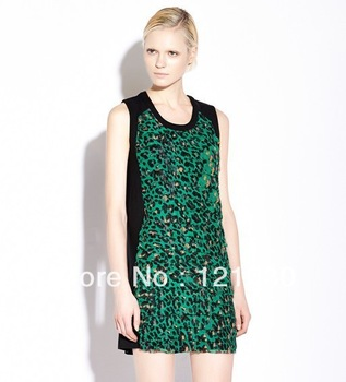 2013 Women's fashion slim sexy leopard mini skirt one peice novelty dress Club party's tshirt tops