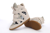 Free shipping 99.99% Original Isabel Marant Bekett Sneakers for Women Wedges Shoes Height Increasing 100% Genuine Leather
