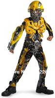 Free Shipping Transformers Bumblebee Full set Cosplay Costume Muscle set and Deluxe set Performance Wear Costume for Child