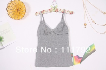 Free shipping 2013 summer women cotton stitching Modal Camisole Sexy V-neck halter embroidered camisole trade