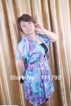 Free shipping v-neck chiffon dress sexy sequined dress big yards fashion blouse bat shirt casual dress xxxxxl woman top Specials