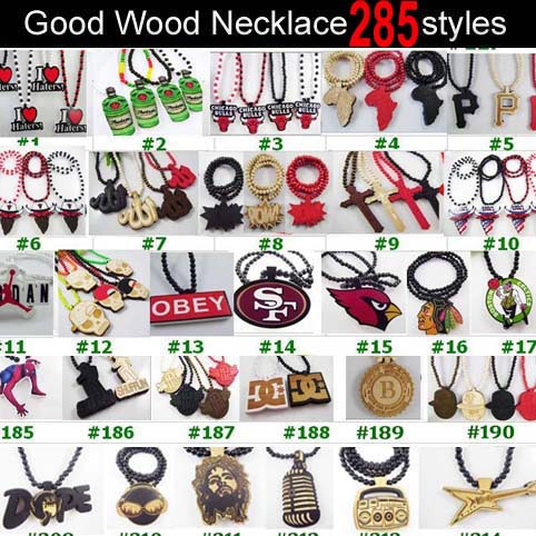 30pcs/ lots Wholesale Good Wood Wooden Hip Hop Dancer Goodwood Jewelry NYC High Quality Necklace 240 styles To Choose(China (Mainland))
