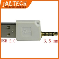 Wholesale 3.5MM to USB 2.0 AM Adapter Jack Data Sync Charger Connector Adapter for iPod Shuffle Free Shipping