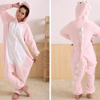 Pink dinosaur Kigurumi Pajamas Animal suits Cosplay Costume Adult Garment Coral Fleece Stitch Cartoon Animal Sleepwears on sale