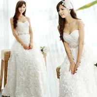 2014 Hot&Sexy Solomon  A-line  Sweetheart  vintage Court Train Rose Organza Bandage Pearl Belt  Wedding dress Plus Size A1002