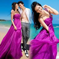 2014 Hot&Sexy new arrival  beach dress  princess purple  one flower shoulder evening party dress custom-made  a1002