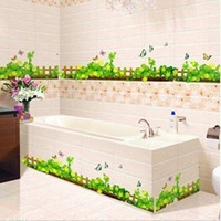 Free shipping 2014 New Arrival Four Leaf Grass Fence Wall Stickers Decoration Sticker