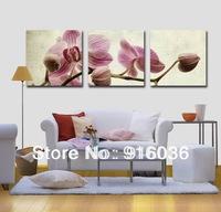 Free shipping 3 Piece Orchid Huge Decorative Canvas Print Combination Picture Painting Modern Hanging Flower pt432