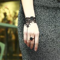 Free Shipping Vintage gothic vampire Harajuku black lace ring indian dance female bracelet finger chain gift