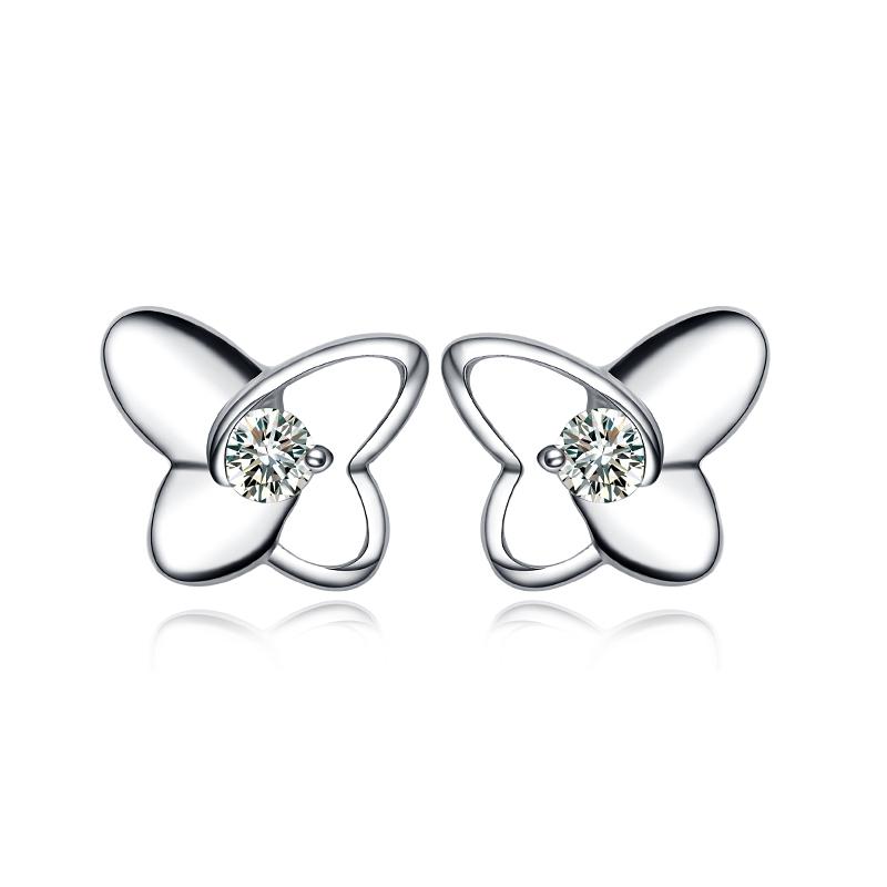 Moissanite Earrings White Gold Earrings 18k White Gold