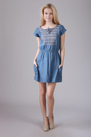 Summer 2014 fashion show thin denim dress dress is free shipping