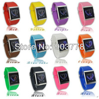 Free shipping 100pcs/lot cheapest price new version 2013 newest double heart LED watch,men/women's watch,PU leather band watch