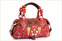 Handicrafted Fashion Handbag Ladies Evening Bags Red Canvas Handbags Women Wood Bead Shell Beading Decor Christmas Gifts 2013