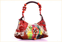 Vintage Indian Ladies Evening Shoulder Tote Bags Handbags Women Cotton Handbag Tassel + Shell Decor Multi-colored Gift for Her