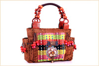 Vintage Handicrafted Ladies Tote Handbags Women Shoulder Bags Multi-colored Canvas Wooden Bead Charms Shell+Beading Tassle Gifts