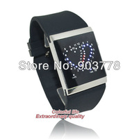 Free shipping 60pcs/lot cheapest price new version 2013 newest double heart LED watch,men/women's watch,PU leather band watch