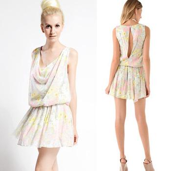 2013 New Fashion Summer Women Cute Chiffon Dress Printing Back vent Sexy Novelty Dresses For women Ladies Ladies Free Shipping