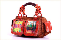 New Arrival Vintage Cotton Tote Handbag Shoulder Bag Women Totes Multi-colored 2 side Pocket+ 2 front Pocket Wooden Beading Gift