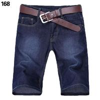 free shipping Male denim shorts men's clothing slim straight mid waist summer thin denim capris