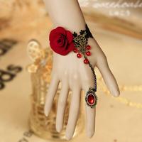 gothic lolita jewellry black lace red rose bracelet metal chain crystal rings handmade jewelry fashion girls charm bracelets