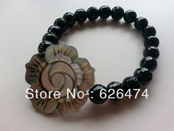 Girls stylish 8mm black agate cutting corner round & shell flower chain stretchable Bracelet(China (Mainland))