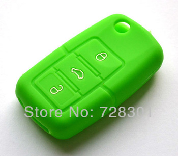 Green Silicone Case Cover Holder Protecting Bag Fit For Skoda Roomster Yeti Superb Octavia Fabia Flip Key With 3 Buttons
