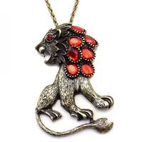 Wholesale fashion personalized lion necklace red crystal lion necklace jewelry lion pendant 12  pieces / lot  FREE shipping