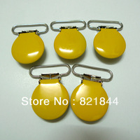Free Shipping 50pcs 1'' 25mm Yellow Round Shape Enamel Painted Colored Pacifier Clips/Suspender Clips