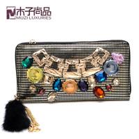 Fashion vintage multicolour diamond cowhide Large day clutch wallet rabbit fur shoulder bag