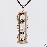 Min.order is $10 (mix order),Europe and the United States magazine happy hourglass big flashing Crystal Long Necklace.