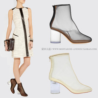 Shoes transparent shoes crystal with the boots genuine leather gauze breathable thick heel high-heeled sandals star style