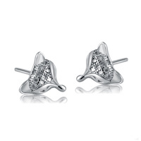 2013 Fashion 925 Sterling Silver Jewelry Fox CZ Cubic Zirconia Micro-Pave Stud Earrings