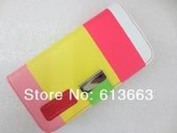 10pcs/lot Hit Contrast Color Painting flip Folio Clutch Stand PU Leather Case Cover For Samsung Galaxy S4 i9500 Free Shipping