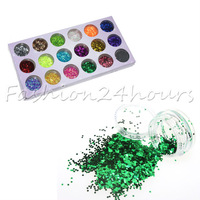 18 Colors Small Hexagon Paillette Nail Art Glitter Decoration Free Shipping