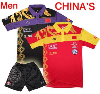 free shipping .LI-NING CHINA'S National table tennis  Men's shirt / Zhang JiKe ,Wang hao/ table tennis clothes men